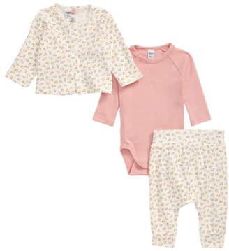 Petit Bateau Organic Cotton Cardigan, Long Sleeve Bodysuit & Pants Set