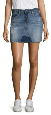 True Religion Distressed Denim Mini Skirt $159 thestylecure.com