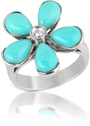 Del Gatto Diamond and Turquoise Flower 18K Gold Ring