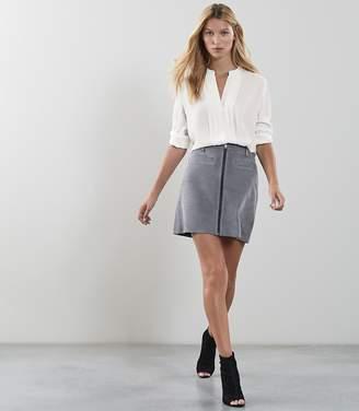 Reiss Enya Centre Front Zip Detail Suede Skirt