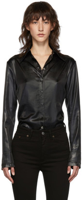 Acne Studios Black Satin Sandy Flu Shirt