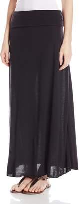 Star Vixen Women's Foldover Waist Solid Maxi Skirt