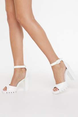 Nasty Gal Bare Your Sole Cleated Faux Leather Heels