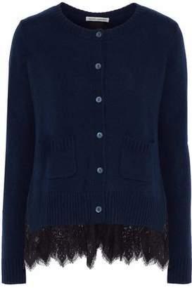 Autumn Cashmere Lace-Paneled Cashmere Cardigan