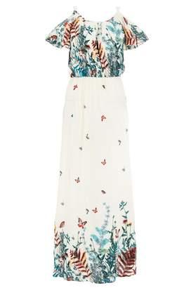 Quiz White and Multi Floral Print Maxi Dress