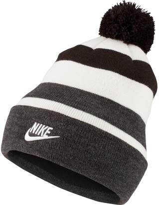Nike Women's Striped Beanie with Removable Pom-Pom