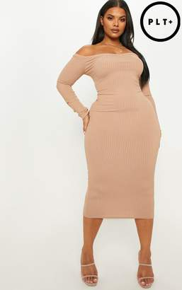 PrettyLittleThing Plus Camel Ribbed Tortoise Button Detail Bardot Midi Dress