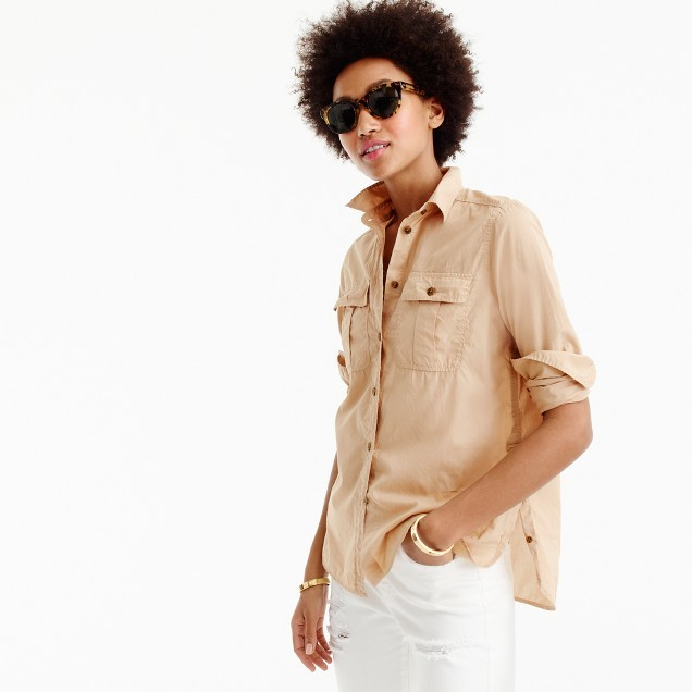 J.Crew Petite garment-dyed fatigue shirt