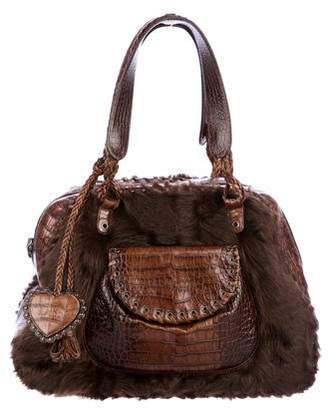 Christian Dior Fur-Trimmed Alligator Shoulder Bag