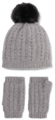 Portolano Cable-knit Cashmere Beanie And Fingerless Gloves Set - Light gray