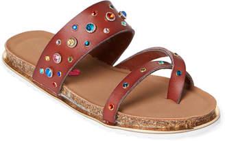 Steve Madden Kids Girls) Cognac Slueth Embellished Slide Sandals