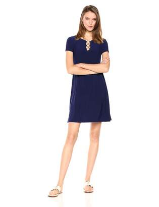 MSK Women's Short Sleeves t-Shirt Dress w/Front 'O' Detail