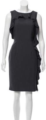 Calvin Klein Collection Ruffle-Trimmed Knee-Length Dress