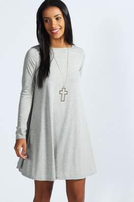 boohoo Scoop Neck Long Sleeve Swing Dress