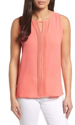 Chaus Pintuck Sleeveless Crepe Blouse