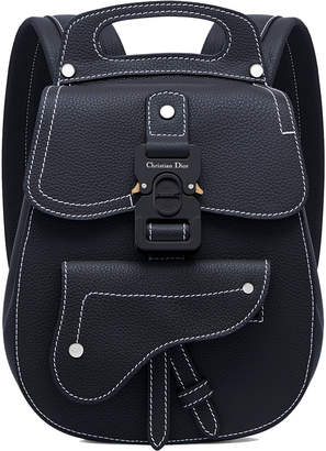 Christian Dior Saddle Detail Backpack Grained Calfskin Small Navy Blue