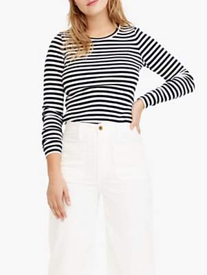 J.Crew Perfect Fit Stripe Long Sleeve T-Shirt, Navy/Ivroy