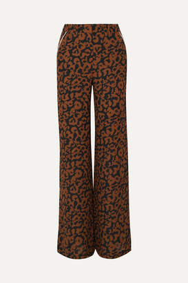 Nicholas Leopard-print Silk Crepe De Chine Wide-leg Pants - Brown