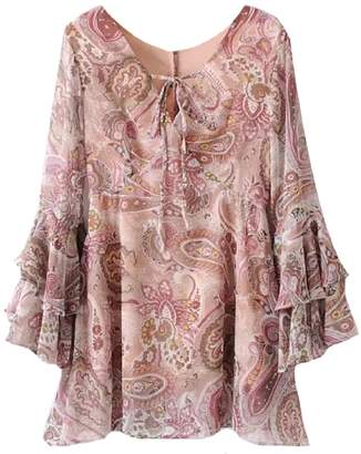 Goodnight Macaroon 'Dani' Paisley Print Flared Mini Dress