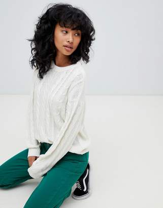 Pull&Bear cable knitted sweater in oatmeal