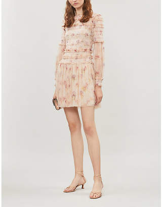 NEEDLE AND THREAD Think of Me sequinned shirred floral-print mesh mini dress
