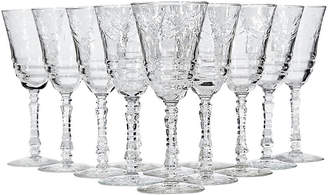 One Kings Lane Vintage Art Deco Floral Etched Wine Stems - Set of 12 - 2-b-Modern
