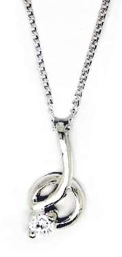 Goldmajor Sterling Silver and Solitary Cubic Zirconia Stone Pendant on a 45.7cm Chain