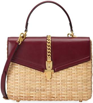 Gucci Sylvie wicker small top handle bag