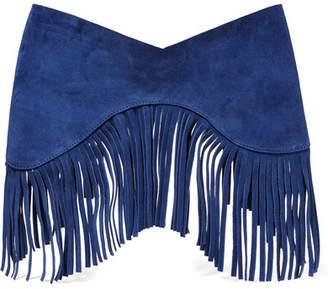 Jacquemus La Ceinture Souk Fringed Suede Waist Belt - Bright blue