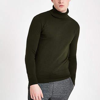 Mens Khaki roll neck slim fit jumper