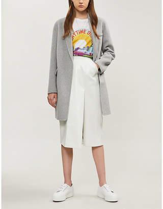 Maje Single-breasted brushed wool-blend coat