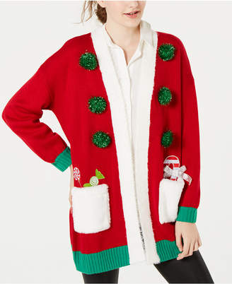 Hooked Up by Iot Juniors' Embellished Holiday Cardigan