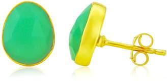 Manhattan Gold Auree Jewellery Vermeil and Apple Green Chrysoprase Stud Earrings