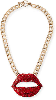 Linda's For Bg Faceted Crystal Lips Statement Necklace