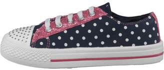 Board Angels Girls Lace Pumps With Spot Print Navy/White/Pink