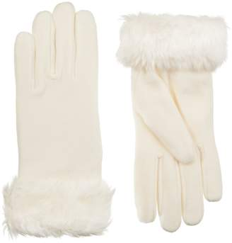 Isotoner Women's Stretch Fleece Faux Fur Cuff Gloves