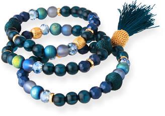 Lydell NYC Tassel & Bead Stretch Bracelets, Set of 3