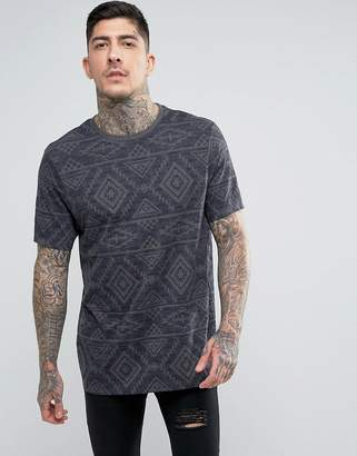Asos Longline T-Shirt With All Over Aztec Print