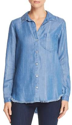 Bella Dahl Frayed Hem Chambray Button-Down Shirt