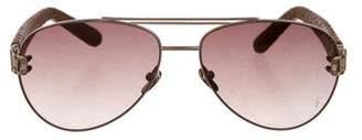 Linda Farrow Luxe Python Aviator Sunglasses