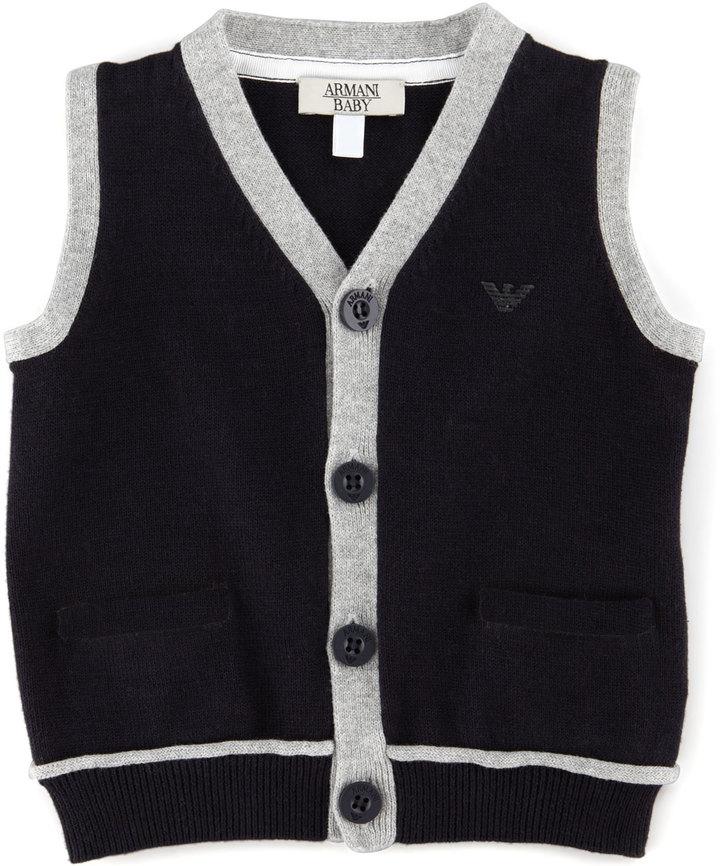 Armani Junior Sweater Vest with Contrast Trim, Blue, 3-24 Months