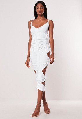 7ac822cde4 Missguided White Double Layer Slinky Cut Out Midaxi Dress
