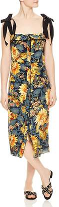 Sandro Matti Floral-Print Silk Midi Dress