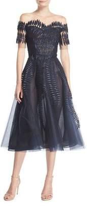 Oscar de la Renta Embroidered Tulle Short-Sleeve Tea-Length Cocktail Dress