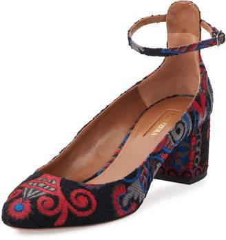 Aquazzura Alix Embroidered Ankle-Strap Pumps, Black