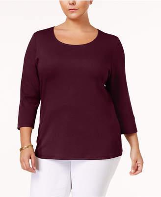 Karen Scott Plus Size Cotton Scoop-Neck Top