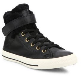 Converse Chuck Taylor All Star Brea Leather & Faux Fur High-Top Sneakers $80 thestylecure.com