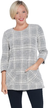 Susan Graver Knit Jacquard 3/4-Sleeve Plaid Tunic with Pockets
