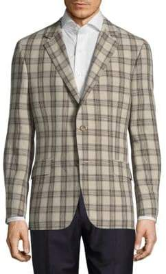 Hickey Freeman Button-Front Linen Jacket