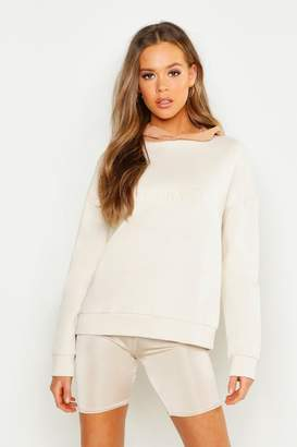 boohoo Contrast Hood Embroidered Oversized Hoody